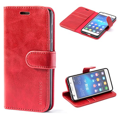 Mulbess Housse pour Huawei Honor 6, Coque Honor 6 Cuir, Étui Portefeuille avec à Rabat Magnétique Housse Protection pour Huawei Honor 6 Etui Pochette, Vin Rouge