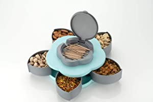 Mukhivala Rotatig Flower Shape 5 Grids Fruit Plate Candy Nuts Snack, Dry Fruit, Candy, Chocolate, Seeds Storage Box...