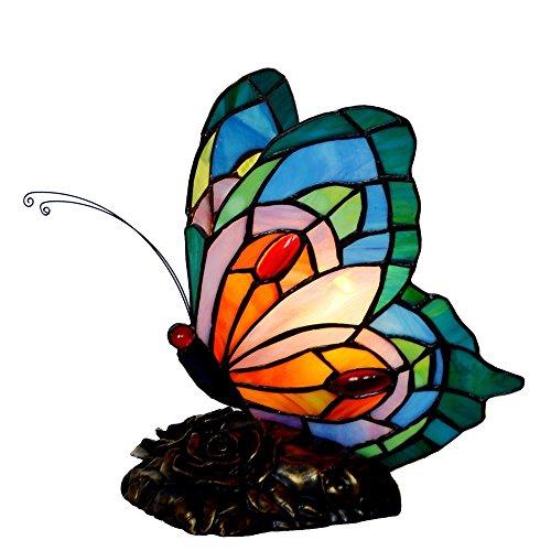 Bieye L30040 9 pulgada Mariposa Lámpara de mesa de acento del vitral del estilo de Tiffany