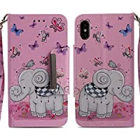 Handyhülle iPhone X,HUDDU Elefant Schmetterling Muster Schutzhülle iPhone X Hülle Flip Leder Tasche Slim Bookstyle... preisvergleich bei billige-tabletten.eu