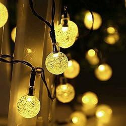 Salcar Catene luminose LED 5 metri solare catena leggera include 20 palline illuminazione decorativa per le celebrazioni della festa di Natale (bianco caldo)