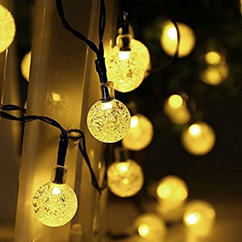 Salcar 5 Meters Solar Waterproof fantasy String Lights 20 LED Crystal Globe Christmas Decorative Lamp for Outdoor, Garden, Home, Wedding, Xmas New Year Party Ornaments2 [Energy Class A++] warm