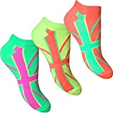 Ladies & Girl's Fluorescent Neon Union Jack Trainer Liners Socks (3 Pair Multi Pack)