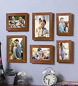 Art Street - Set of 6 Brown Wall Photo Frame Photo Frame (Mix Size) 5X7, 4x6