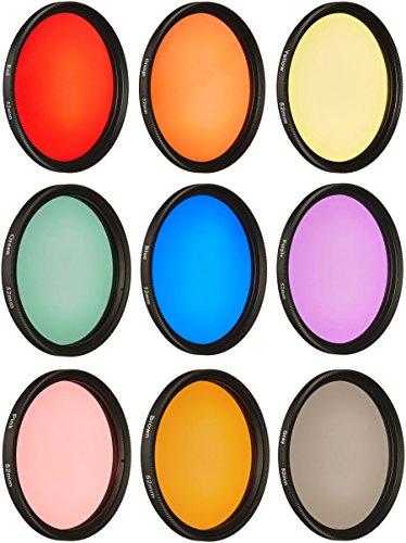 Neewer - Set di filtri colorati per obiettivo, per fotocamera con filettatura da 52 mm, 9 pezzi, include: filtri ND rosso, arancione, blu, giallo, verde, marrone, viola, rosa e grigio + custodia di trasporto + panno di pulizia in microfibra