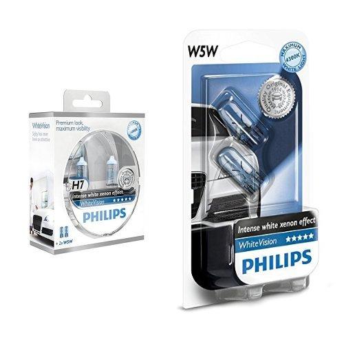 Preisvergleich Produktbild Philips WhiteVision Xenon-Effekt H7 Scheinwerferlampe 12972WHVSM,  2er-Set + Philips WhiteVision Xenon-Effekt W5W Scheinwerferlampe 12961NBVB2,  Doppelblister,  12V,  5W