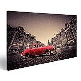 islandburner, Bild auf Leinwand Retro roter Wagen auf