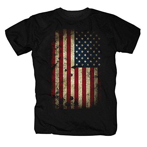 USA negro Camiseta L