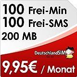 DeutschlandSIM ALL-IN 100 [normale SIM] - Monatlich kündbar (200MB Daten Flat, 100 Frei-Minuten, 100 Frei-SMS, 9,95 Euro/Monat, 19 ct Folgeminutenpreis) Vodafone-Netz