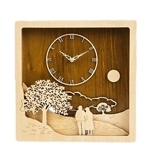 Horloge murale - 12 pouces en bois massif Sculpture manuelle Silent vous accompagner jusqu'à l'horloge murale ancienne