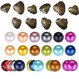 20pcs de mix Couleur unique Twins Triplet Quads 6,5–7mm d'eau douce Perles de culture, huîtres avec rond Perle à l'intérieur