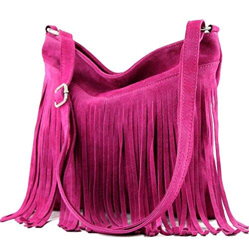 modamoda de - T125 - ital Schultertasche Fransen Wildleder, Farbe:T145 Pink - Rosa Wildleder Fransen