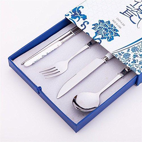 4PCS Elegante Oriental Inspiration Besteck Edelstahl Essstäbchen, Gabel, Messer und Löffel Set in Geschenk-Box Pc Edelstahl-besteck-set