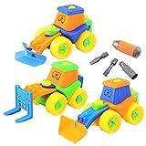 Dibang 3Pcs Schraubenspiel Montage Baufahrzeuge Spielzeugauto LKW Set ab 3 jahren jungen Auto Pädagogisches Spielzeug