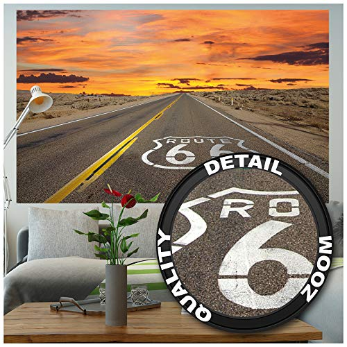 GREAT ART XXL Poster - Route 66 - Wandbild Dekoration Amerika Highway Chicago Kalifornien Reisen Urlaub Sonnenuntergang Wüste USA Deko Wandposter Fotoposter Wanddeko Bild (140 x 100 cm)