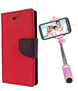 Aart Fancy Diary Card Wallet Flip Case Back Cover For Apple I phone 6 Plus -(Red) + Mini Aux Wired Fashionable Selfie Stick Compatible for all Mobiles Phones By Aart Store