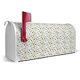 BANJADO US Mailbox/Amerikanischer Briefkasten 51x22x17cm/Letterbox Stahl weiß/mit Motiv Blütenperlen, Briefkasten:ohne Standfuß