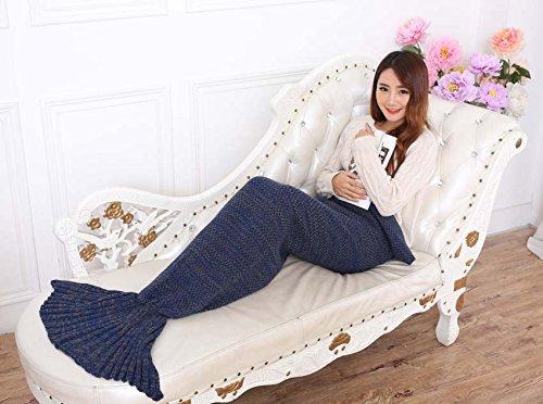 Zsmj-handgemachte gestrickte Mermaid Schwanz Decke, Sofa Quilt Wohnzimmer Decke Mermaid Decke für Erwachsene und Kinder 180cmX90cm (71 Zoll x35.4 Zoll) ... ...