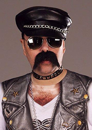 Mens 80s Schwarz Punk Rock Hut Biker Cap