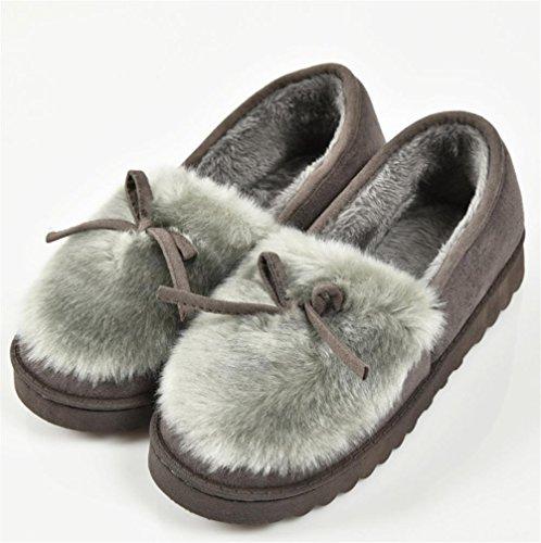 ZHLONG Pantofole di cotone con fiocco Ladies casual pantofola autunno coperta e super morbido peluche di inverno calda , gray , 40