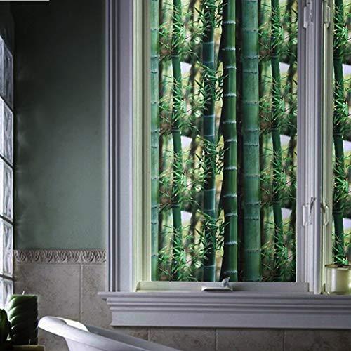 YSHUO Pegatinas De Ventana Sin Pegamento 3D Bambú Verde Película De Ventana Privacidad VidrierasViniloDecorativoVinilo Estático Decoración De La Ventana del Hogar