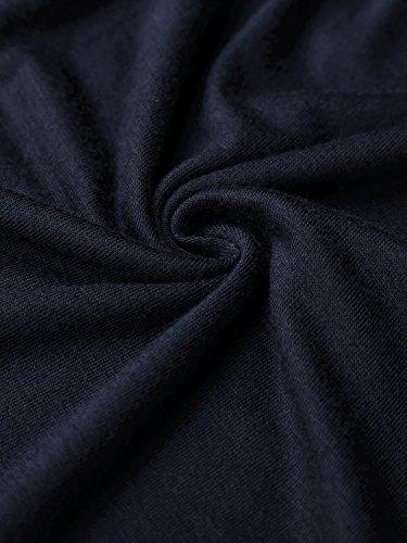 WAJAT Damen Schulterfrei Langarmshirt V-Ausschnitt Spitze T-Shirt Tunika Dunkelblau