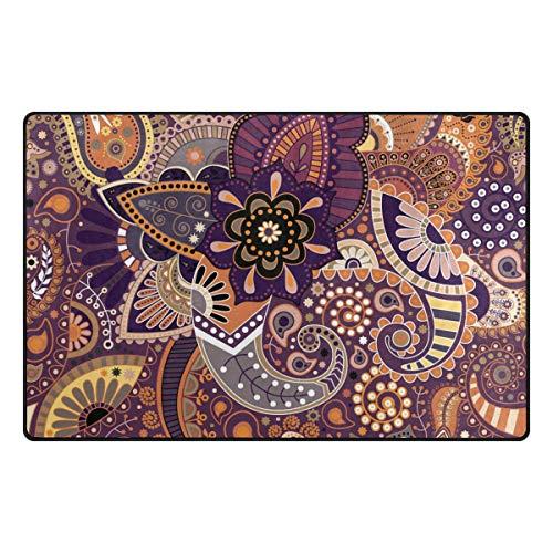 MONTOJ Cool Paisley Floral Muster Schuhkratzer Teppich Bereich Teppiche Super Soft Fußmatte für Wohnzimmer Schlafzimmer Home Decor Teppich, Polyester, 1, 60 x 39 inch
