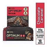 Optimum Nutrition Protein Barre avec Whey Protéine - Chocolat Caramel - Sans Sucre Ajouté, 10 x 60 g