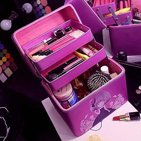 La version coréenne de make-up rétro sac à main timbres boîte cosmétique Portable étanche double haute capacité sac à cosmétiques ,châssis violet
