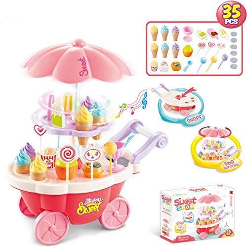 Tomasa Kinder Eiswagen Spielzeug für Mädchen DIY Lernspielzeug mit Musik Licht Kuchen Speiseeis Ice-Cream Dessert Spiel