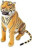 Brubaker Großer Tiger Braun mit Zähnen sitzend 90 cm Stofftiger Stofftier Plüschtier