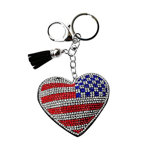 Da.wa unisex portachiavi peluche con imitazione diamante bandiera nazionale modello portachiavi accessori ciondolo 12 * 10 * 2 cm bandiera americana