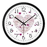 BYLE Kreative Wanduhren stilvolles Wohnzimmer Schlafzimmer Liebe Rosa Liebe Styling Mute Serienbriefe Heart-Shaped Muster Wohnkultur Wanduhr, 12 Zoll, Black-Black,