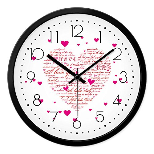 BYLE Kreative Stilvolles Wohnzimmer Schlafzimmer Liebe Rosa Liebe Styling  Mute Serienbriefe Heart Shaped Muster Home Decor Wall Clock, 12 Zoll,  Black Black,