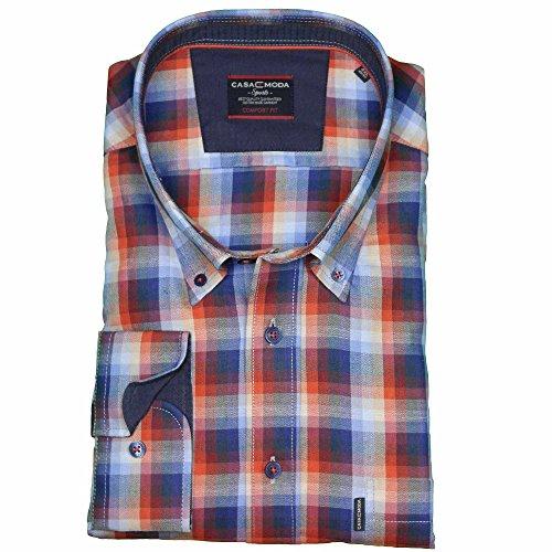 Casamoda Hemd in Übergröße mit langem Arm | blau kariert Rot