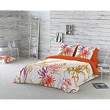 COTTON ART- Funda Nórdica TROPICAL Cama de 150 (240x260cm)+ 2 FUNDAS DE ALMOHADA (45X80cm). ALGODÓN 100%. Disponible para cama de 90,105,135y150.