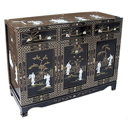 Asia Dragon Chinoise Armoire de Laque Noire - Meubles Chinois de Style Traditionnel