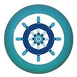 Kindermöbelgriff Möbelknopf Möbelgriff Möbelknauf Jungen hellblau dunkelblau blau Massivholz Buche - Kinder Kinderzimmer Steuerrrad blau dunkelblau maritim - petrol