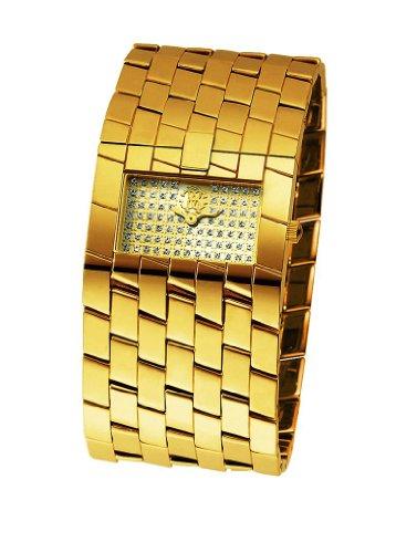 Roberto Cavalli 'Cleavage' 7253182517 Women's Analog Quartz Watch with Rhinestones and Yellow Steel Back