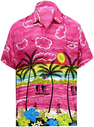 LA LEELA Beach Hemd männer Hawaiihemd Kurzarm Button Down Kragen Fronttasche Beach Strand Hemd Manner Urlaub Casual Herren Aloha XS Rosa_W389 - Button-down-vintage-sport-shirt