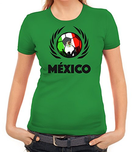Mexico Wappen Soccer Fussball WM Fanfest Gruppen Fan Wappen Damen T-Shirt Fußball Mexiko, Größe: L,Kelly Green -