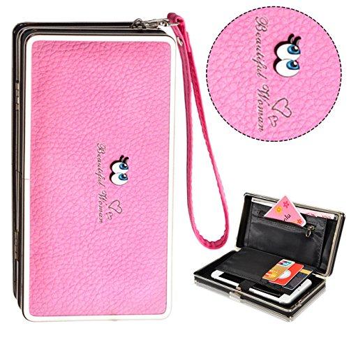 Bonice borsa del portafoglio da donna con la chiusura lampo in pelle PU multifunzione [Grande capacità] Card Slots Case Cover per iPhone 8/8 Plus/iPhone X, iPhone7/7 Plus/6S/6S Plus/6/6 Plus/5/5S/5C/S Occhi-Cover-05