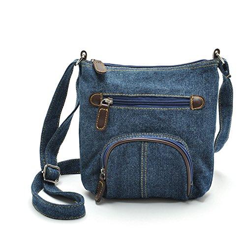 Mefly Tempo Libero Borsa Vento Blu Tasca Anteriore Della Spalla Croce Diagonale Bag Black blue