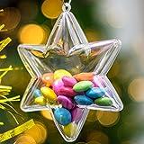 x 5 Plástico Transparente En Forma De Estrella Decoración De Navidad 100mm Adorno Bolas