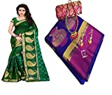 SAREES FOR WOMEN Latest design for Party Wear Buy in Today Offer in Low Price Fancy Banarasi Silk Material Latest Sarees Combo Pack, Designer Beautiful Bollywood Sarees, Combo Pack Of 2 sarees For Women Party Wear Offer Designer Sarees, saree With Blouse Piece, New Collection sari, Sarees For Womens, New Party Wear Sarees, Women's Clothing Saree Collection in Green,Blue-Coloured For Women Party Wear, Wedding, Casual sarees Offer Latest Design Wear Sarees With Blouse Piece
