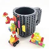 VANUODA Build-on Brick Mug, Tazza di caffè, Regalo per Uomini Lui Bambini Amici Bambini, Idea Regalo per Natale Pasqua Festa del papà Compleanno, Compatibile con Lego (Grigio)