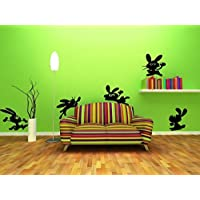 """Broomsticker Set of funny bunnies - rabbits (Large: 30cm height of each bunny / 12"""")"""