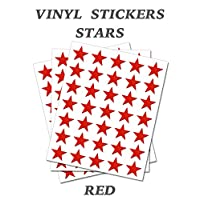 Set of 120 - Red Star Merit Reward Stickers - Removable Self Adhesive Waterproof Durable Vinyl Label Sticker 15mm each for School, preschool, Nursery & Home Activity by PARTY DECOR