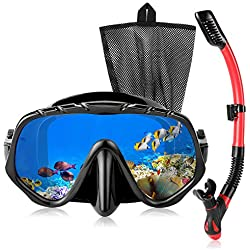 Qkurt Masque de Plongée Kit avec Verre trempé & Tuba Dry Top, Masque de plongée Anti-Brouillard, Sacs de Tuba et de Maille faciles à respire, Professionnel de Snorkeling pour Hommes et Femmes