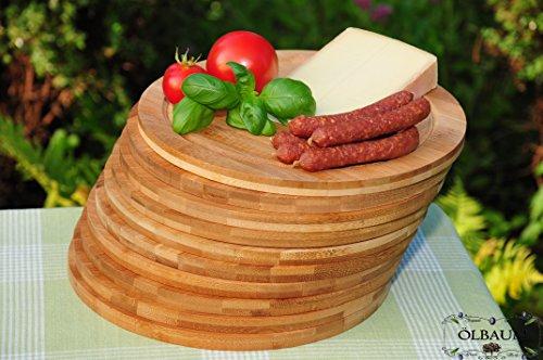 10x Schneidebrett, Servierbretter, Grill-Anrichtebrettchen, Servierplatte Schneide- und Grill-Brett 10x dunkles Bambus, Frühstücks- und Grill-Brett, Schneid- und Grill-Brett Holz groß, massive, hochwertiges ca. 30cm x 1,2cm starkes Holzbrett rund - oval / abgerundete Kanten, Holzbrettchen groß rund, Grill-Brett traditionell mit Rillung natur, mit abgerundeten Kanten, Maße rund je ca. 30 cm Durchmesser als Bruschetta-Servier- und Grill-Brett, Brotzeit- und Grill-Brett